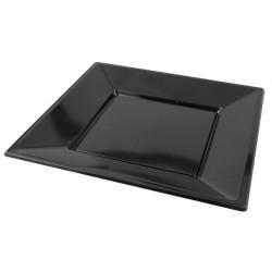 Platos de Plástico Cuadrados Negros 23 cm (Paquete 25 Uds)
