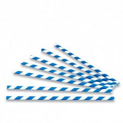 Pajitas de Papel Rectas Rayadas Azules Ø6mm x 20cm (100 Uds)