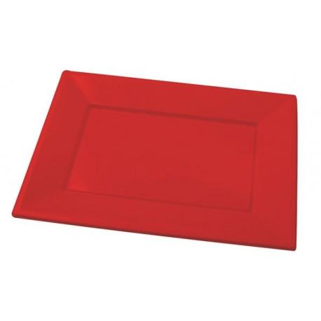 Bandejas de Plástico Rojas 33 x 22,5 cm (Paquete 25 Uds)