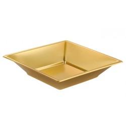 Platos de Plástico Hondos Cuadrados Dorados 17cm (Caja 240 Uds)