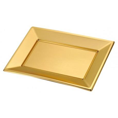 972398942ce5 Bandejas de Plástico Desechables Doradas y Color Oro