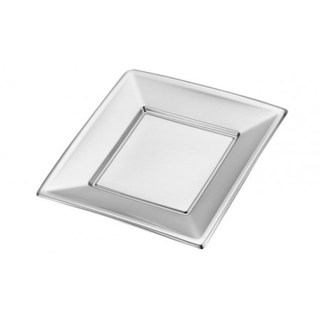 Platos de Plástico Cuadrados Plateados 17cm (Caja 192 Uds)