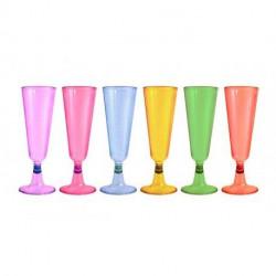 Copas de Cava de Plástico Colores Surtidos 150ml (24 Uds)