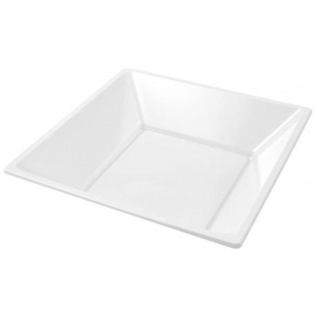 Platos de Plástico Hondos Cuadrados Blancos 17cm (25 Uds)