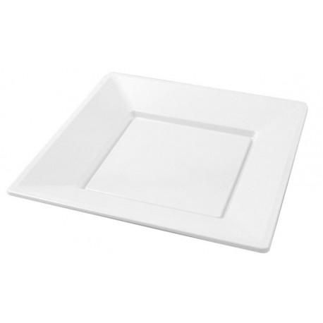 Platos de Plástico Cuadrados Blancos 17cm (25 Uds)