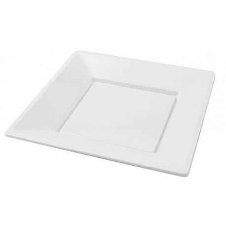 Platos de Plástico Cuadrados Blancos 23cm (Paquete 25 Uds)