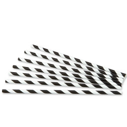 Pajitas de Papel Rectas Rayadas Negras Ø6mm x 20cm (100 Uds)