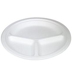 Platos Biodegradables Tres Compartimentos Caña de Azúcar 26cm (50 Uds)