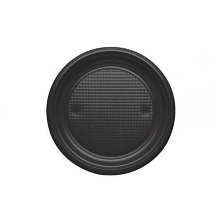 Platos de Plástico Negros 20,5cm (10 Uds)