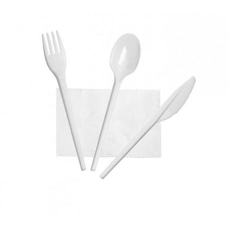 Set de Cubiertos, Tenedor, Cuchara, Cuchillo y Servilleta (25 Uds)