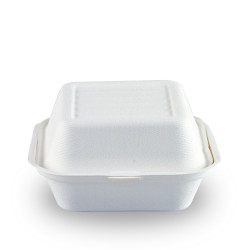 Envases Biodegradables para Hamburguesas Caña de Azúcar 15x15x8cm (50 Uds)