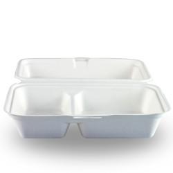 Envases Biodegradables con Dos Compartimentos Caña de Azúcar 24x16x8cm (50 Uds)