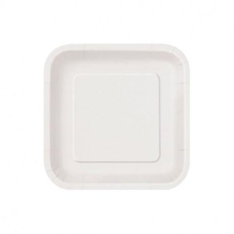 Platos Biodegradables de Cartón Blanco Cuadrados 18cm (50 Uds)
