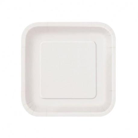Platos Biodegradables de Cartón Blanco Cuadrados 20cm (500 Uds)