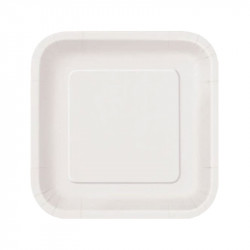 Platos Biodegradables de Cartón Blanco Cuadrados 23cm (50 Uds)