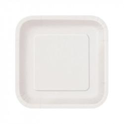 Platos Biodegradables de Cartón Blanco Cuadrados 23cm (500 Uds)
