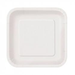 Platos Biodegradables de Cartón Blanco Cuadrados 26cm (50 Uds)