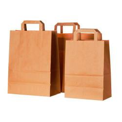 Bolsas de Papel Kraft con Asas 32+16x43cm (50 Uds)