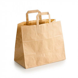 Bolsas Take Away de Papel Kraft con Asas 26+17x26cm (50 Uds)