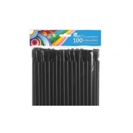 Cañitas con Cucharita Negras 24 cm (100 Uds)