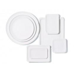 Bandejas de Cartón Blancas Rectangular 14 x 21cm (100 Uds)
