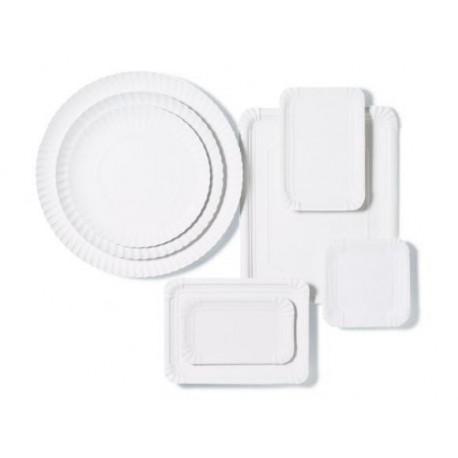 Bandejas de Cartón Blancas Redondas 25cm (100 Uds)