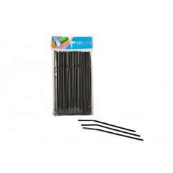 Cañas Flexibles Negras 21cm (Paquete 100 Uds)
