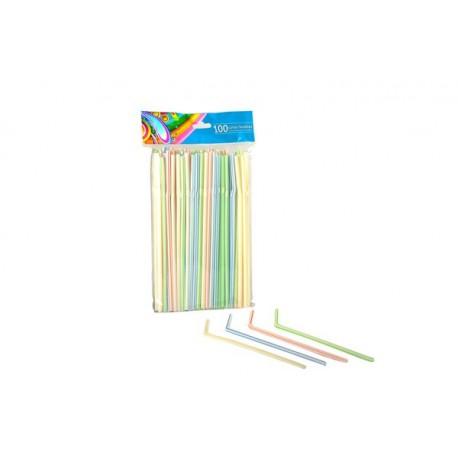 Cañas Flexibles a Rayas 21cm (Paquete 100 Uds)