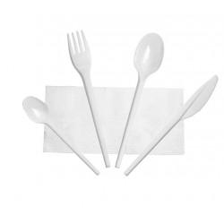 Set de Cubiertos, Tenedor, Cuchara, Cuchillo, Cucharita Postre-Café y Servilleta (Caja 500 Uds)
