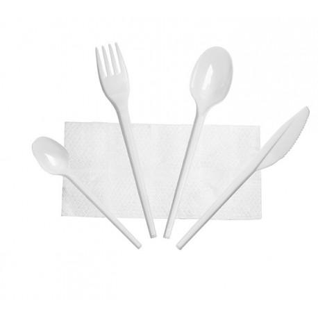 Set de Cubiertos, Tenedor, Cuchara, Cuchillo, Cucharita Postre-Café y Servilleta (500 Uds)
