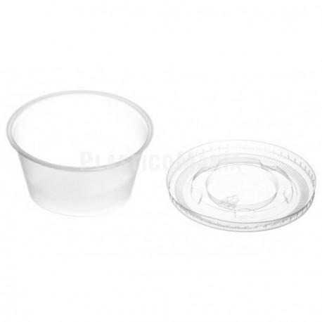 Salseras de Plástico con Tapa 100cc Transparentes