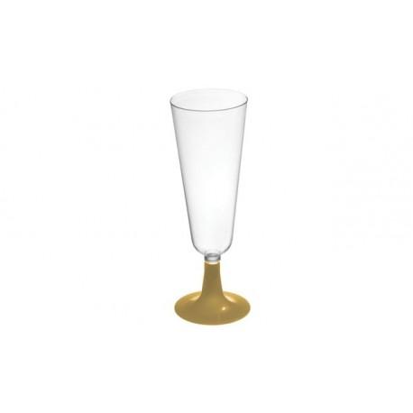 Copas de Cava de Plástico Pie Dorado 150 ml (Paquete 50 Uds)