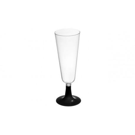 Copas de Cava de Plástico Pie Negro 150 ml (Caja 500 Uds)
