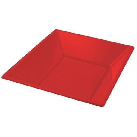 Platos de Plástico Hondos Cuadrados Rojos 17cm (500 Uds)