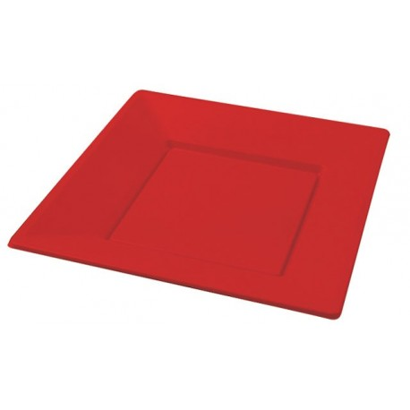Platos de Plástico Cuadrados Rojos 23 cm (Caja 500 Uds)