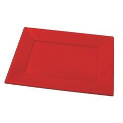 Bandejas de Plástico Rojas 33 x 22,5 cm (Caja 125 Uds)