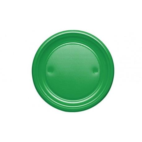 Platos de Plástico Verdes 20,5 cm (Caja 600 Uds)