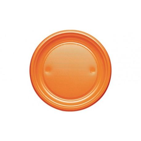 Platos de Plástico Naranjas 20,5cm (600 Uds)