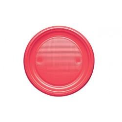 Platos de Plástico Rojos 20,5cm (10 Uds)