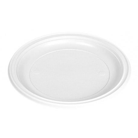 Platos de Plástico Llano Blancos 20,5cm (100 Uds)