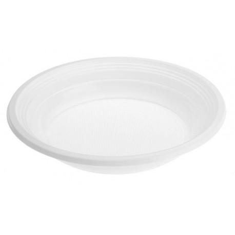 Platos de Plástico Hondos Blancos 20,5 cm (Paquete 100 Uds)