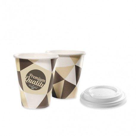 Vasos de Cartón 120ml con Tapas Drink (500 Uds)