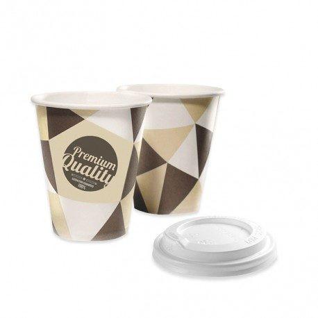 Vasos de Cartón 250ml con Tapas Drink (500 Uds)