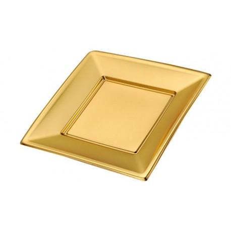 Platos de Plástico Cuadrados Dorados 17cm (4 Uds)