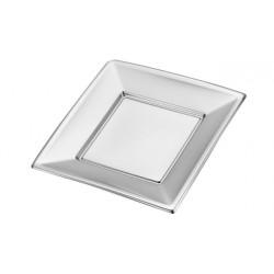 Platos de Plástico Cuadrados Plateados 23cm (4 Uds)