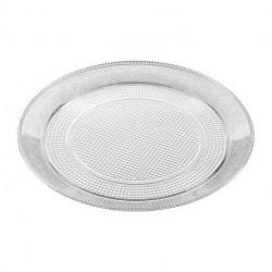 Bandeja de Plástico Redonda Reutilizable Transparente 20cm (1 Uds)