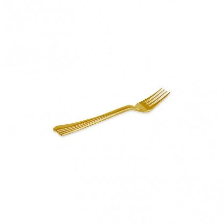Mini Tenedores de Plástico Dorados 10cm (15 Uds)