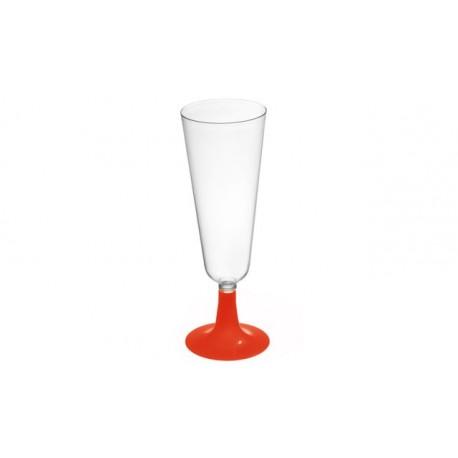 Copas de Cava de Plástico Pie Rojo 150 ml (Paquete 50 Uds)