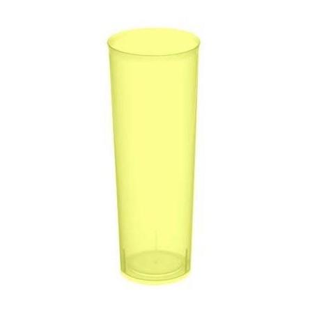 """Vasos de Plástico PP Tubo """"Irrompibles"""" Amarillo Flúor 300ml (6 Uds)"""