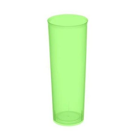 """Vasos de Plástico PP Tubo """"Irrompibles"""" Verde Flúor 300ml (6 Uds)"""
